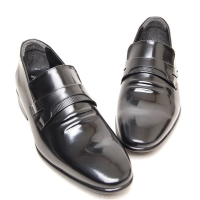Men's leather plain toe wrinkle loafer shoes