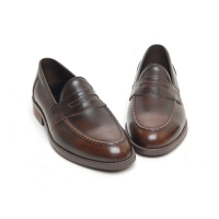 Men's leather u line stitch penny loafer shoes