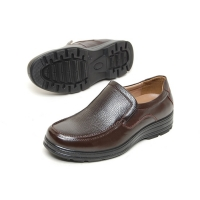 Men's leather u line stitch platform high heel loafer shoes