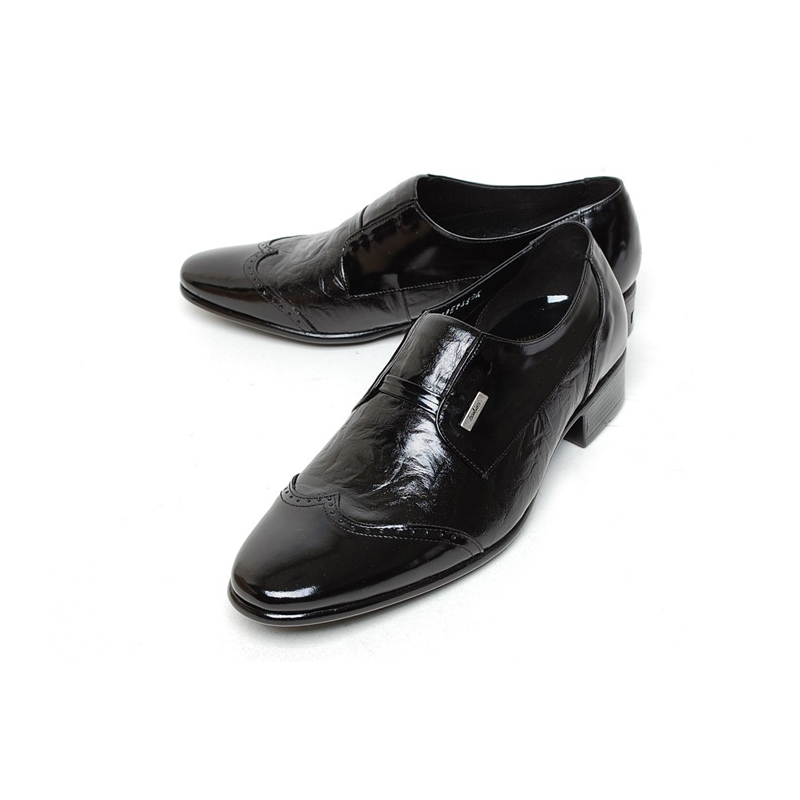 Men S Wing Tip Two Tone Leather Wrinkle Loafer Shoes