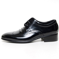 Men's Wing Tip Brogue Wrinkle Open Lacing Increase Height Oxford Elevator Shoes