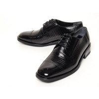 Men's Square Toe Brogue Leather Two Tone Wrinkle lace up Oxford Shoes