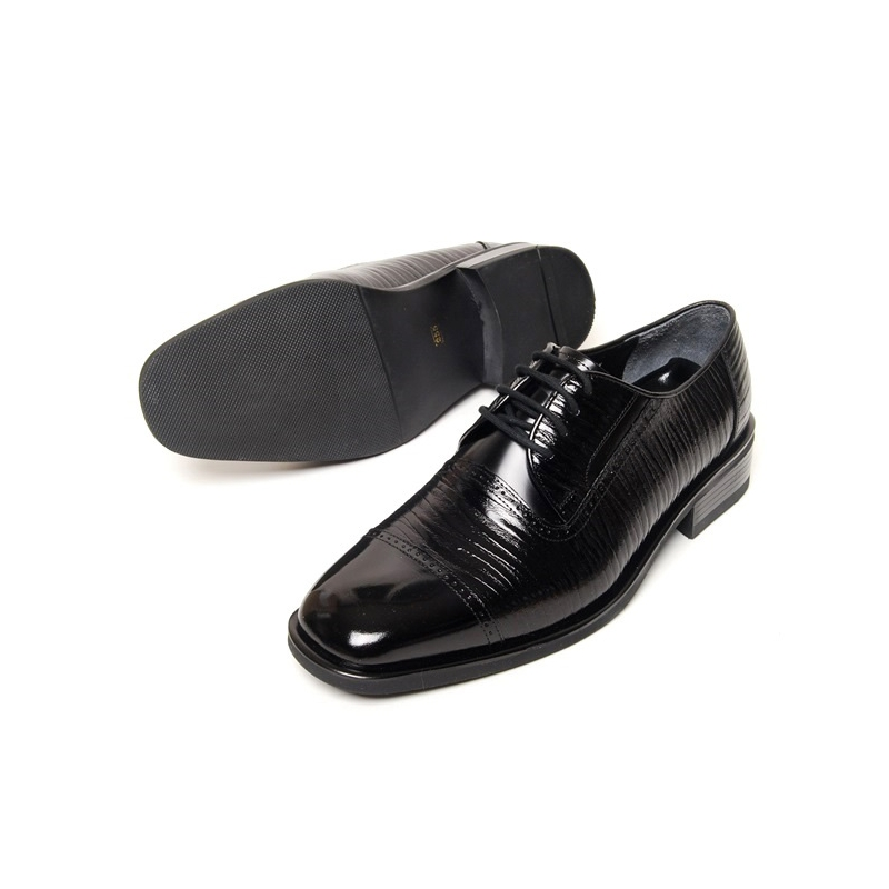 Men S Square Toe Brogue Leather Two Tone Wrinkle Lace Up