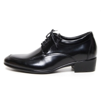 Men's Apron Toe Leather Lace Up Increase Height Oxford Elevator Shoes