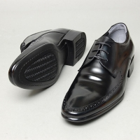 Men's Round Toe Brogue Open Lacing Black Cow Leather Oxford Shoes