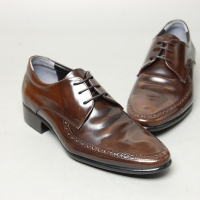 Men's Round Toe Brogue Open Lacing Brown Cow Leather Oxford Shoes
