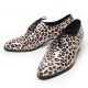 Men's Pointed Tod Leopard Pattern Lace up High Heel Shoes