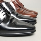 Men's Flat Round Toe Leather Brogue Wrinkle Open Lacing Oxford Shoes