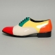 Men's Cap Toe Glossy Multi Color Closed Lacing Oxford Shoes