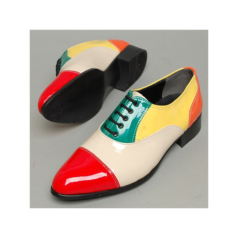 s cap toe glossy multi color closed lacing oxford shoes