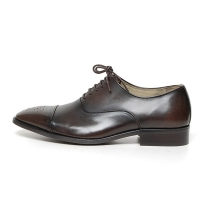 Men's Cap Toe Brogue Leather Lace Up Oxford Shoes