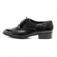 Men's Cap Toe Animal Pattern Closed Lacing Oxford Shoes