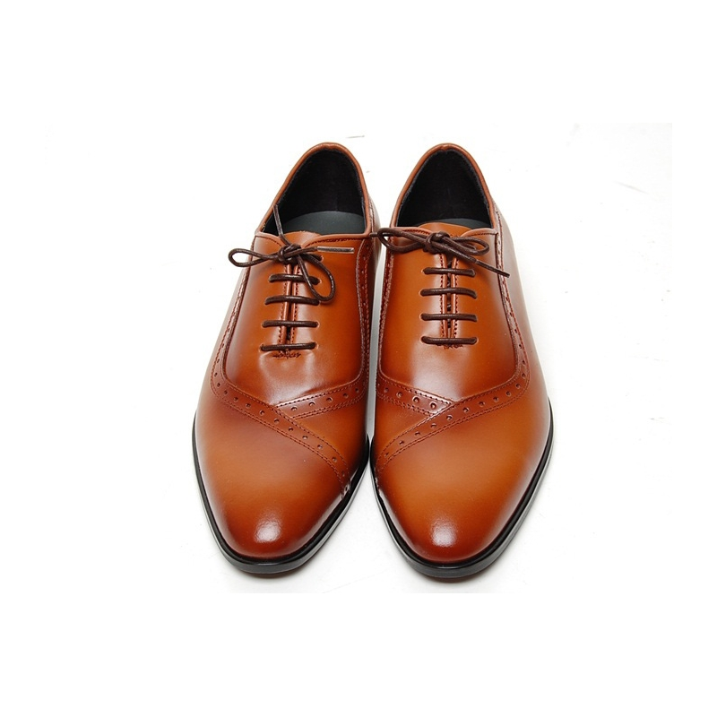 Round Toe Brogue Closed Lacing Oxford Shoes