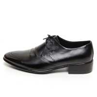 Men's Round Toe Double Brogue Open Lacing Oxford Shoes