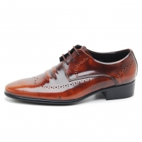 Men's Wing Tip Brogue Wrinkle Leather Open Lacing Oxford Shoes