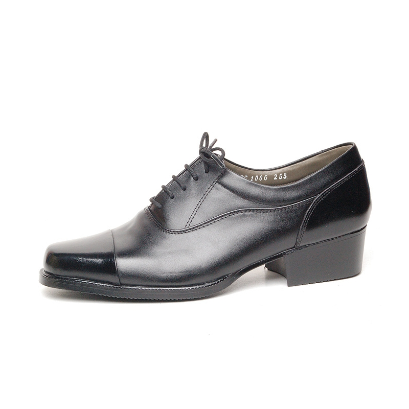 s cap top black leather open lacing oxford shoes