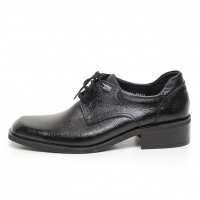 Men's Square Top Black Leather Open Lacing Oxford Shoes