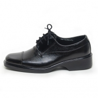 Men's Square Top Straight Tip Black Leather Open Lacing Oxford Shoes