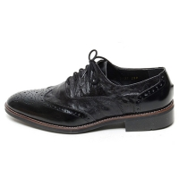 Men's Wing Tip Brogue Wrinkle Leather Closed Lacing Oxford Shoes