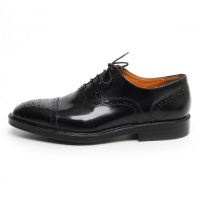 Men's Cap Toe Straight Tip Brogue Leather Closed Lacing Oxford Shoes