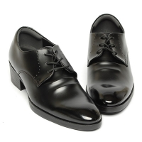 Men's Plain Toe Synthetic Leather Increase Height Open Lacing High Heel Oxford Elevator Shoes