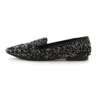 women's pointed toe Glitter Black Low Heel Loafer Shoes