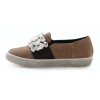 Women's Round Toe Synthetic Suede Front Jewel Decoration Elastic Band Vintage Platform Loafer Shoes