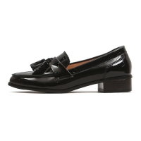 Women's Apron Toe Tassel Glossy Low Heel Loafer Shoes