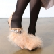 Women's pointed toe fur trimming flat Loafer Shoes