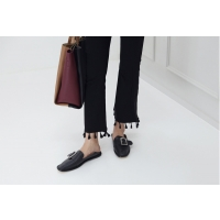 Women's Square Toe Synthetic Leather Big Belt Loafer Shoes