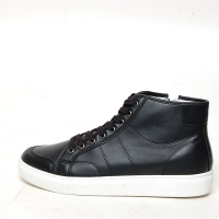 Men's White Platform Synthetic Leather Eyelet Lace Up Side Zip Hidden Wedge Insole Increase Height High Tops Sneaksers