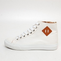 Men's White Platform Eyelet Lace Up Side Zip Back Tap High Top Sneakers
