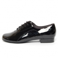 Men's Round Toe Glossy Black Leather Side Punching Lace Up Leather Outsole Dance Shoes