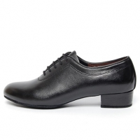 Men's Round Toe Black Leather Lace Up Leather Outsole High Heel Dance Shoes