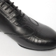 Men's Round Toe Animal Pattern Black Leather Lace Up Leather Outsole High Heel Dance Shoes