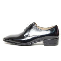 Men's Plain Toe Black Leather Open Lacing Med Heel Oxford Shoes