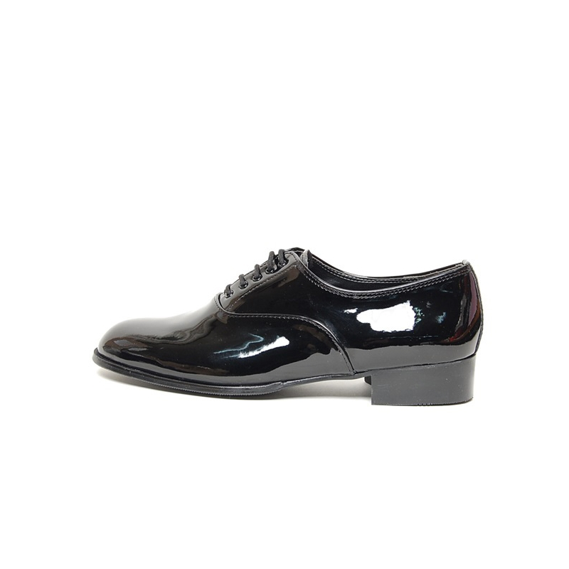 8b4cd5d75d41 Men's Plain Toe Glossy Black Synthetic Leather Lace UP Oxford Shoes