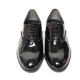 Men's Plain Toe Glossy Black Synthetic Leather Lace UP Oxford Shoes