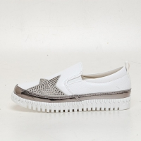 Women's White Platform Star Stud Synthetic Leather Elastic Band Back Tap Sneakers Shoes