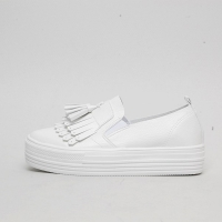 Women's White Platform Tassel Fringe Elastic Band Synthetic Leather Thick Platform Sneakers Shoes
