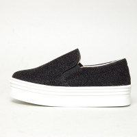 Women's High Thick Platform Glitter Black Elastic Band Sneakers Shoes