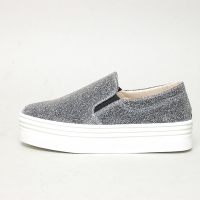 Women's High Thick Platform Glitter Silver Elastic Band Sneakers Shoes
