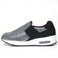 Women's Round Toe Glitter Silver Spangle Elastic Band Cushion Heel Sneakers Shoes