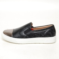 Women's Bronze Cap Toe Vintage Destroyed Black Synthetic Leather Elastic Band Loafer Sneakers Shoes