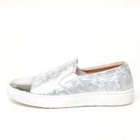 Women's Silver Cap Toe Vintage Destroyed Silver Synthetic Leather Elastic Band Loafer Sneakers Shoes