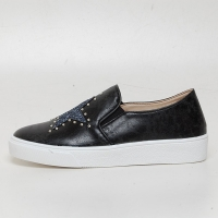 Women's Glitter Star Stud Vintage Destroyed Black Synthetic Leather Elastic Band Sneakers Shoes