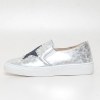 Women's Glitter Star Stud Vintage Destroyed Silver Synthetic Leather Elastic Band Sneakers Shoes