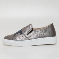 Women's Glitter Star Stud Vintage Destroyed Bronze Synthetic Leather Elastic Band Sneakers Shoes