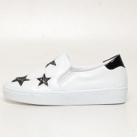 Women's Glitter Black Star Synthetic Leather Elastic Band Sneakers Shoes