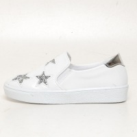 Women's Glitter Silver Star Synthetic Leather Elastic Band Sneakers Shoes